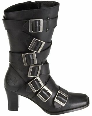 Leather Buckle Boot - Women's Harley-Davidson® Leslie 7 Buckle Black Inside Zipper Lea. Boot Size