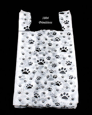 "100 Cat or Dog PAW PRINT Plastic T-Shirt Bags  ~  22"" L x 12"" W x 7"" Gusset"