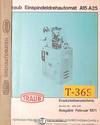 Traub A15 A25 Einspindeldrehautomat Mill Parts Manual 1971
