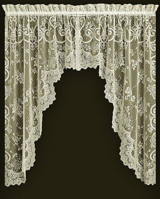 Lace Valance or Swag Pair Ivory English Ivy Window Livingroom Bedroom