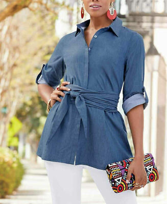 Ashro Brianna Belted Tunic Denim Blue Shirt Top Blouse Size L Large or XL Belted Blouse Top