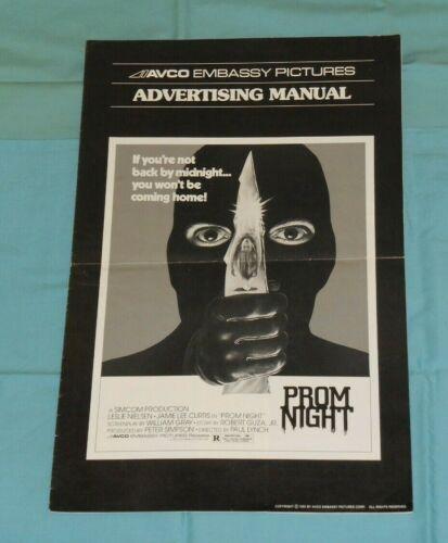 original PROM NIGHT PRESSBOOK advertising manual Jamie Lee Curtis Leslie Nielsen