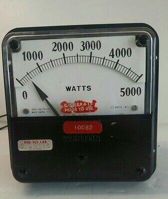 Vintage Weston Model 925 1000-5000 Watts Meter Metal Case Substation Panel