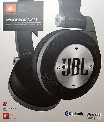 New in Box JBL Black SYNCHROS E40BT Wireless Bluetooth On-Ear Stereo Headphones