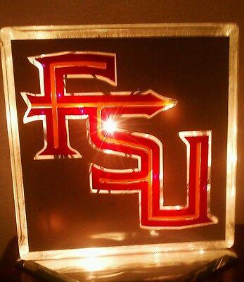 Florida State Seminoles Glass Block Light~ Home Decor~Gift~Lamp - Florida State Seminoles Lamp