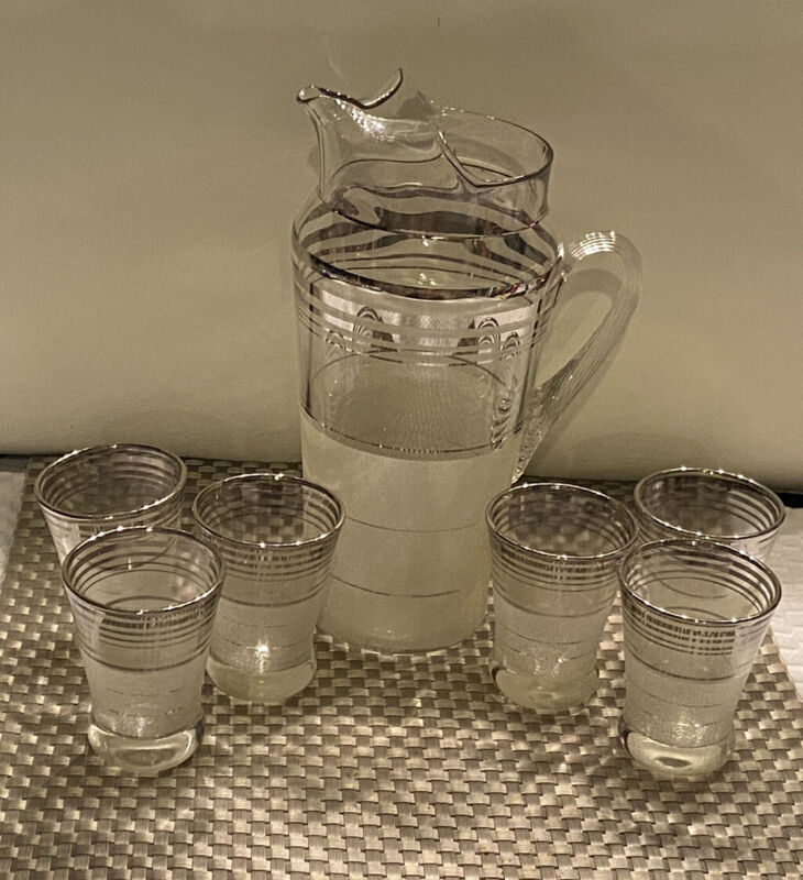 Vintage 1930s MacBeth-Evans Platinum Ringed Cocktail Pitcher & Glasses  Art Deco