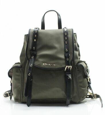 Michael Kors Women's Bag Green Nylon Small Flap Leila Backpack $298- #058