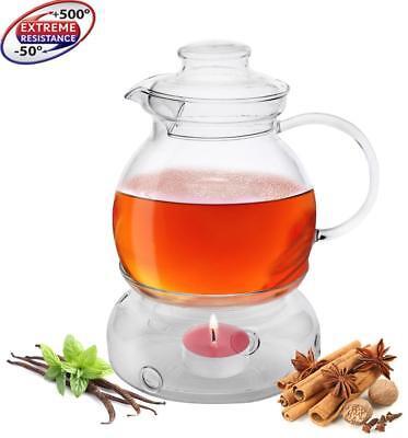 Teekanne mit Stövchen 1,5 LITER Set Teezubereiter aus Borosilikatglas Made in EU