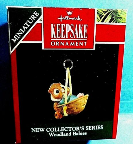 "Hallmark ""Woodland Babies"" Chipmunk Miniature Ornament 1991"