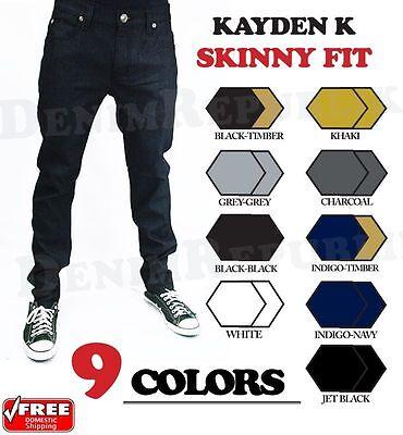 Raw Denim - SKINNY FIT Jeans Kayden K Black Khaki Blue Grey Twill Raw Denim Mens SK101 SK201