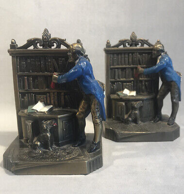 PV04559 Vintage K&O Bronze Cold Painted COLONIAL MAN & DOG Bookend Pair