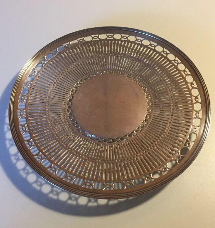 """Vintage Meriden Britannia 48 Reticulated Round Silverplate Serving Plate 10"""""""