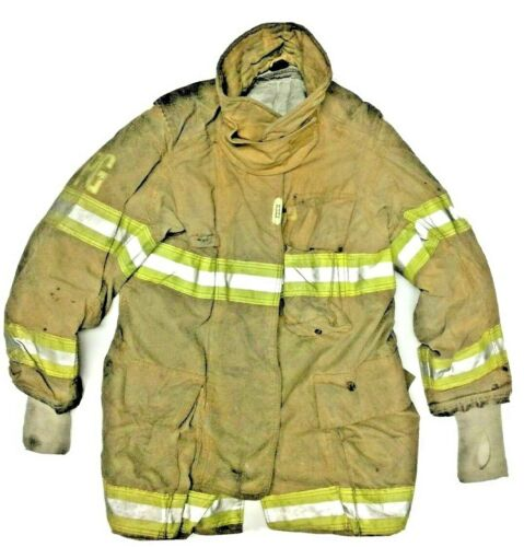 38x34 Securitex Firefighter Brown Turnout Jacket Coat with Yellow Tape J905