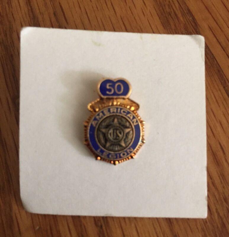 Vintage American Legion Veteran 50 Year Member Award Pin