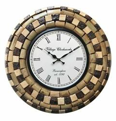 Mosaic Home Décor Vintage Style Wall Clock Antique Brown Wooden Wall Clocks