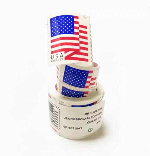 New 6 Roll/Coil 2018 American Flag Postage 100 USPS Forever Mail Sealed 600PCS