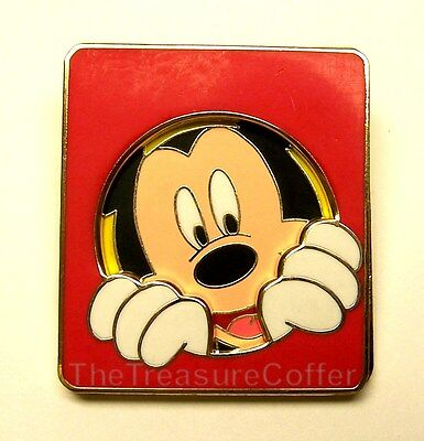 Disney Pin Mickey Mouse Cut Out Peeking - Window Slider, Red Square, Swings Open - Mickey Mouse Cut Out