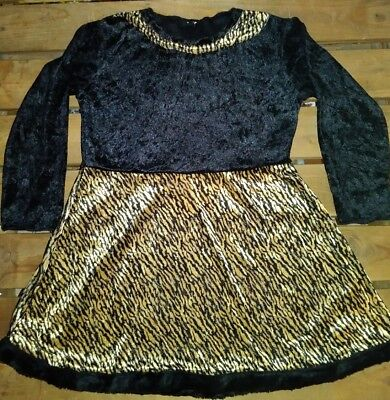 Girl Kitty Cat Dress Costume Crushed Black Velvet Leopard Print Long Sleeve Tail