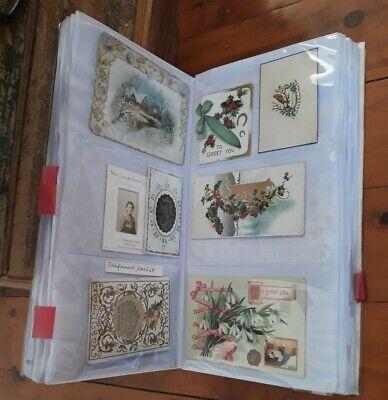 "Large Folder Full Of ""Victorian"" Postcard & Greeting Card Ephemera 38 pages"
