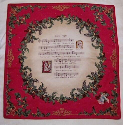 "Vintage Christmas ""Silent Night"" Ladies Handkerchief - 16"" x 16"""