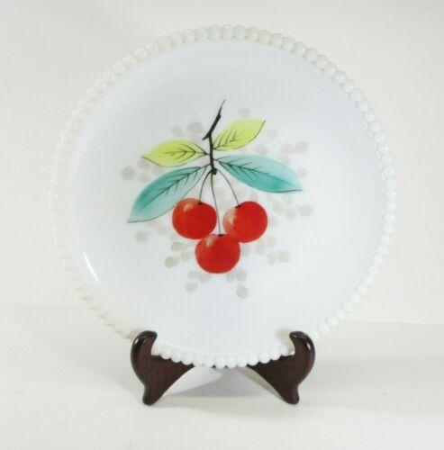 Vintage Westmoreland Milk Glass Hand Painted Beaded Plate Cherries