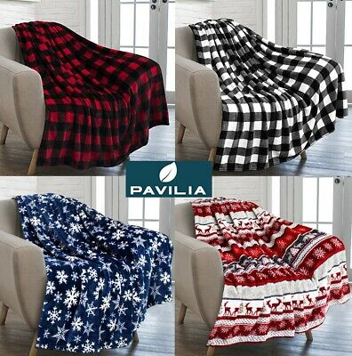 Holiday Christmas Theme Fleece Throw Blanket Sofa Couch Soft Winter Cabin Print ()