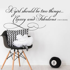 Coco Chanel Classy Fabulous Quote Wall Sticker Wall Decal Bedroom Girl Mural