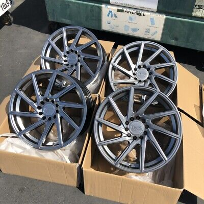 18X8.5 F1R F29 5x114.3 | 5x120 +38 Hyper Black Rims Fits Accord TSX Civic TL RSX