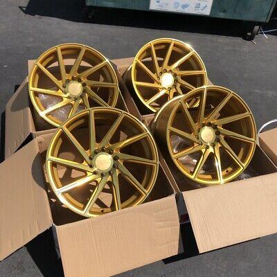 18x9.5 +38 F1R F29 5x114.3 | 5x120 +38 Gold Rims Aggressive Fits Civic TL Accord