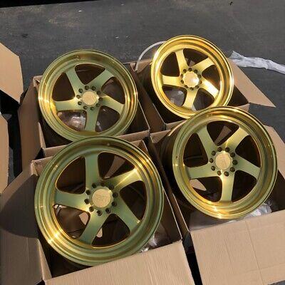 Used 18x8.5 +38 F1R F28 5x100/5x114.3 Gold Rims Fits TC FRS JETTA Brz Wrx Civic