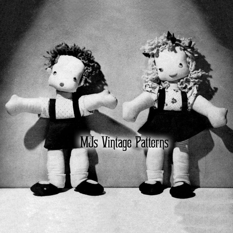 Vintage Easy to Sew Boy & Girl Cloth Dolls Pattern