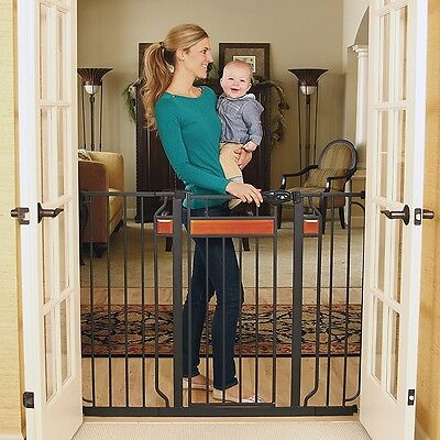Regalo Home Accents Extra Tall Designer Walk Thru Baby Gate in Black Steel Frame