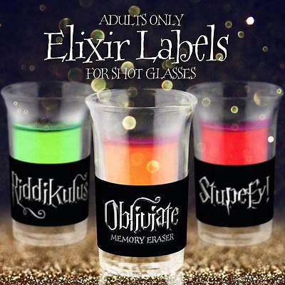 30 Harry Potter Halloween Inspired Drinking Party Shot Glass Sticker Labels - Halloween Inspired Drinks