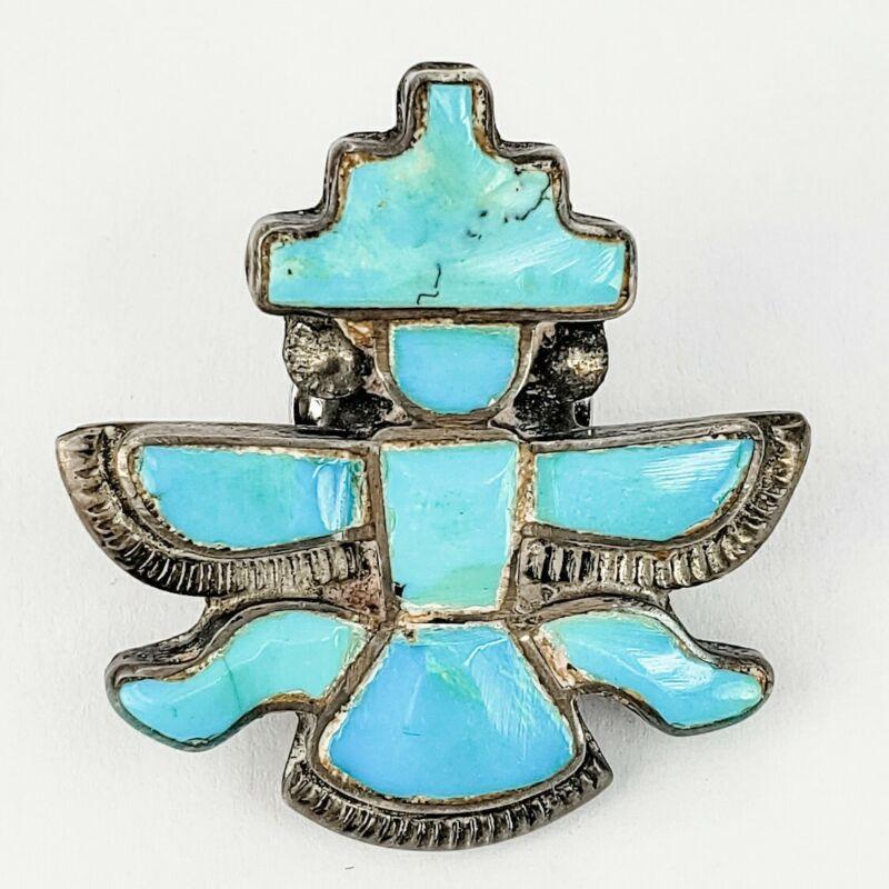 Native American Zuni Sterling Silver 925 Turquoise Knifewing Kachina Lapel Pin