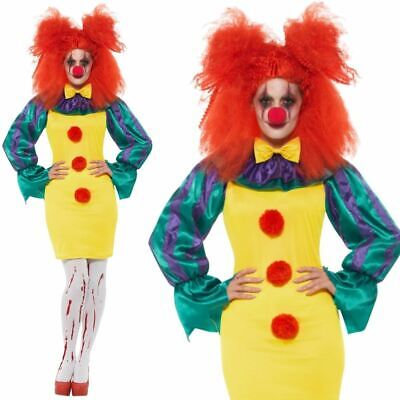Classic Horror Halloween Costumes (Classic Horror Clown Lady Costume Scary Halloween Clowns Fancy Dress)