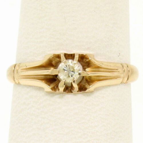 Antique 14k Yellow Gold .13ct European Cut Diamond Belcher Style Engagement Ring