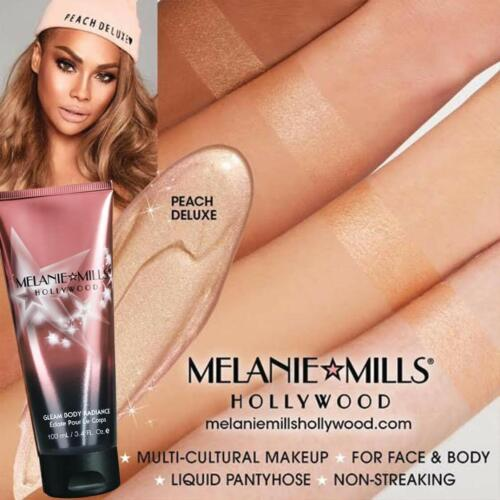 Melanie Mills Hollywood Gleam Peach Deluxe Body Face Travel Makeup Shimmer 1 oz