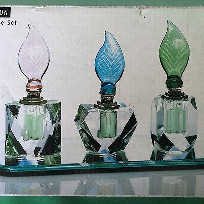 Crystal Perfume Bottle Set Glass Mirror Tray Hand Craft Chri