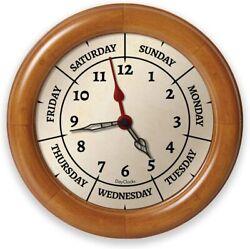 DayClocks Time & Day of The Week Wall Clock – Analog 9.5 Pine Wood Frame