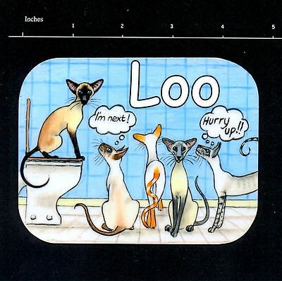 ORIGINAL DESIGN COMIC SIAMESE CAT PAINTING  LOO TOILET SIGN BY SUZANNE LE GOOD