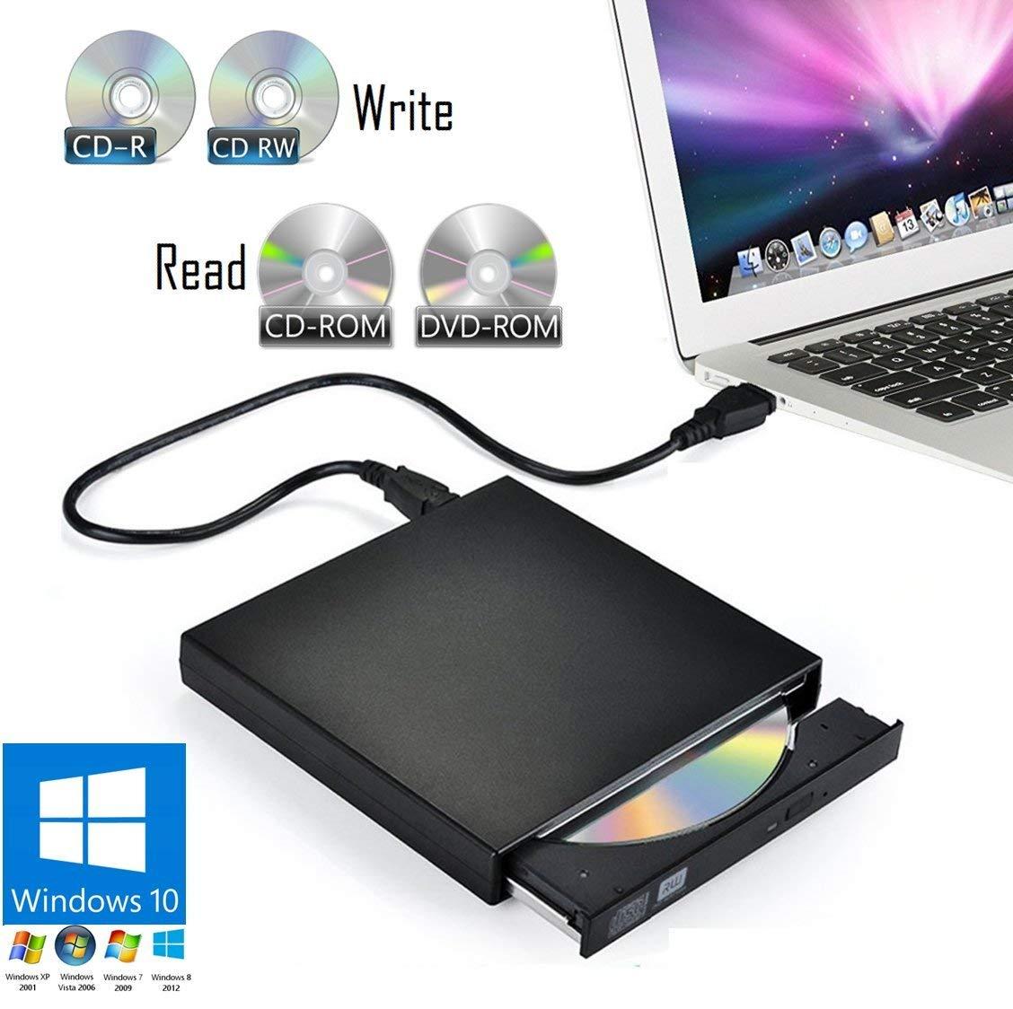 External USB DVD-ROM Drive Player & CD-R/RW Writer Burner fo