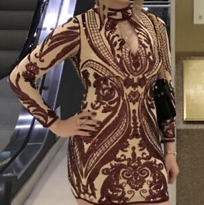 Sequined wine and nude bodycon dress