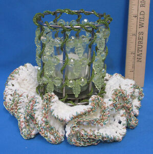 Green-Bead-Metal-Candle-Tea-Light-Tealight-Holder-w-Matching-Doily-Doilies
