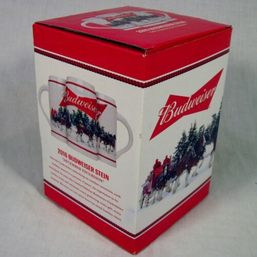 2016 Budweiser Holiday Stein Christmas Beer Mug Clydesdales New in Box