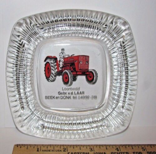 "Massey Ferguson mf Tractor Dealership Advertising Glass Ashtray Dutch ag 5""x5"""