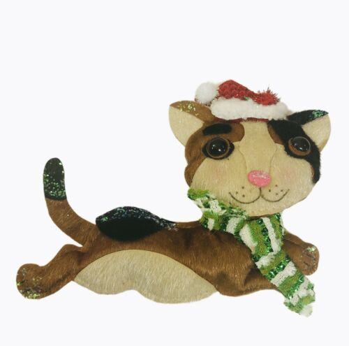 Sullivans Felt Christmas Cat Ornament Calico Cat Flat Glitter Santa Hat Brown