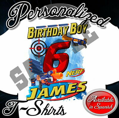 NEW CUSTOM PERSONALIZED BIRTHDAY NERF BOY GIRL TEE TSHIRT  T