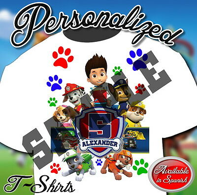 NEW CUSTOM PERSONALIZED PAW PATROL CHASE BIRTHDAY T SHIRT PARTY FAVOR ADD NAME