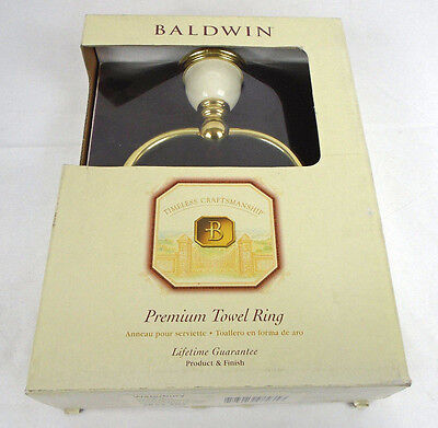 Waterbury Towel - Baldwin 3834-706 Waterbury Towel Ring Polished Brass/Warm White 396HW