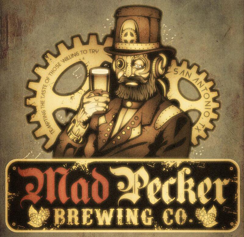 Mad Pecker Brewing Company STICKER Decal Micro Beer Brewery San Antonio Texas TX